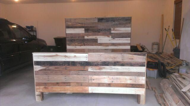 Reclaimed Pallet Wood King Size Headboard, Footboard,and Frame. $1,200.00, via Etsy.