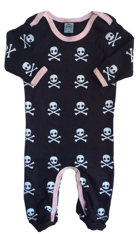 Black Skull Baby Sleepsuit with Pink  by RockRoseBoutique on Etsy