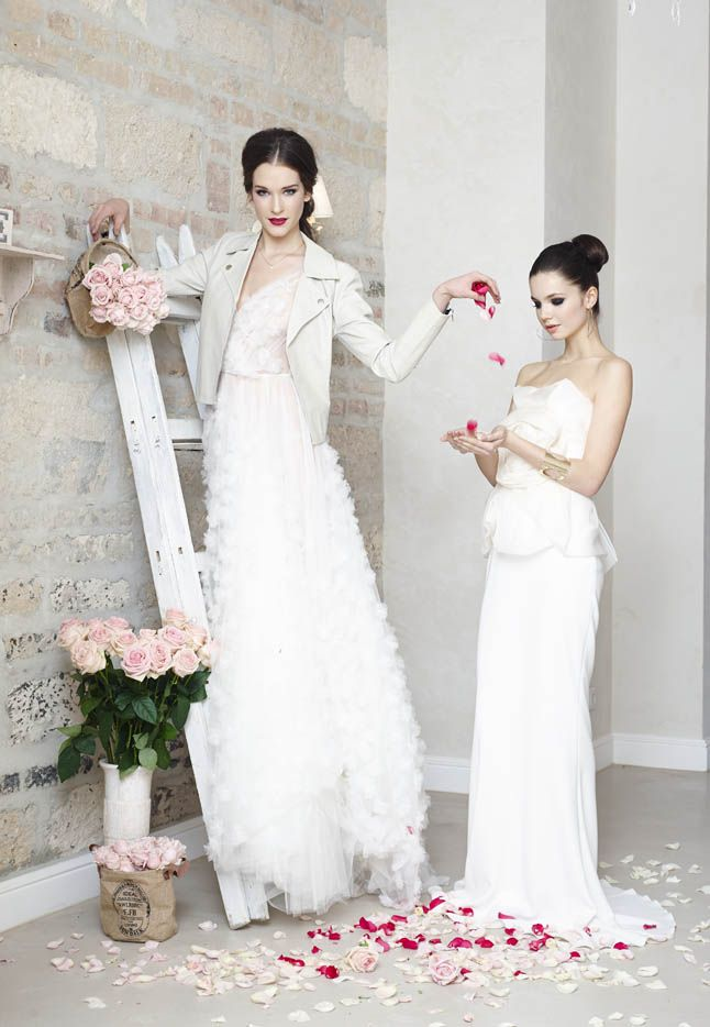 Daalarna Couture tulle wedding dress (left) in Glamour magazine bridal editorial (04/2014)