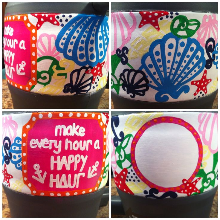 Make every hour a happy hour ~ Chiquita Bonita print Bubba Keg Lilly Pulitzer Monogram hand painted by Emily Perry