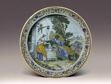 Faianţă cu decor de Pierre Leleu, Iisus şi Samariteanca, către 1740, achiziţionată la Christie's de Muzeul Naţional al Ceramicii