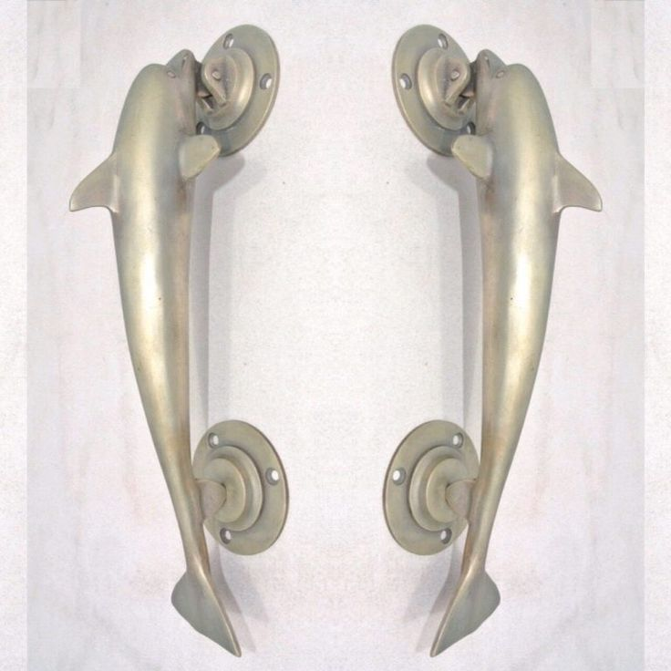 2 Medium 12 100 Brass Dolphin Handle Door Pull Silver Over Solid Brass Hollow Old Aged Style 30 Cm Silk Road Yamba Javanese Handicrafts Accessories Door Pulls Door Pull Handles Solid Brass