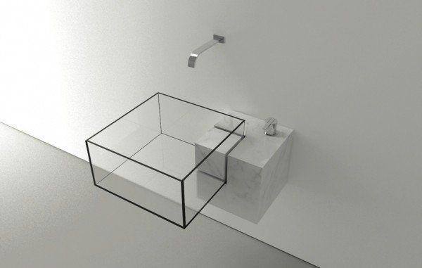 8.Le lavabo épuré qui prend la forme d'un cube en verre