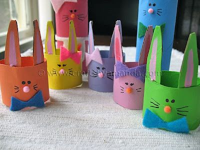 Cardboard Tube Bunny Rabbit Family -- we could make them about 500 times larger for cute Easter hats for toddlers.