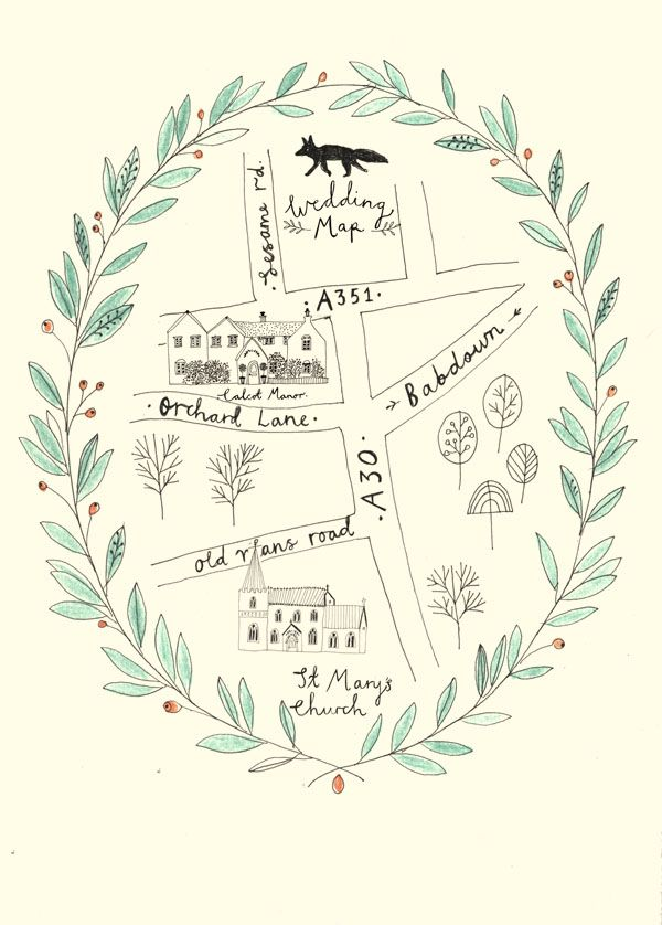 Wedding map - wedding stationery by Katt Frank