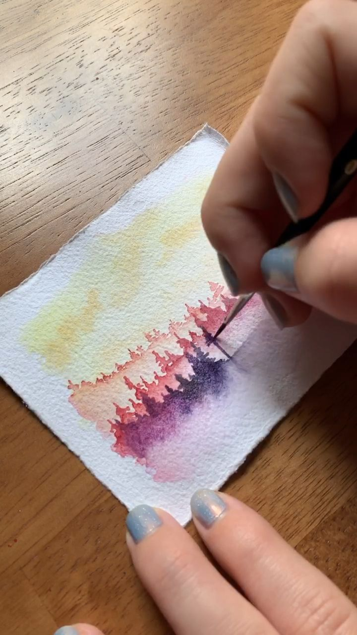 Watercolor sunset forest 🌲 – #forest #Sunset #T…