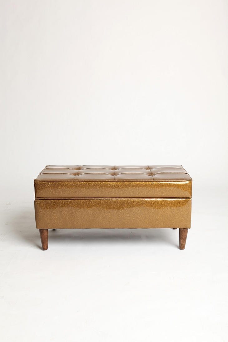 sparkly gold storage bench 249