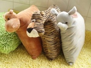 Animal-cushions with an animal shape. The designers make it in a funny face and lovely tail
