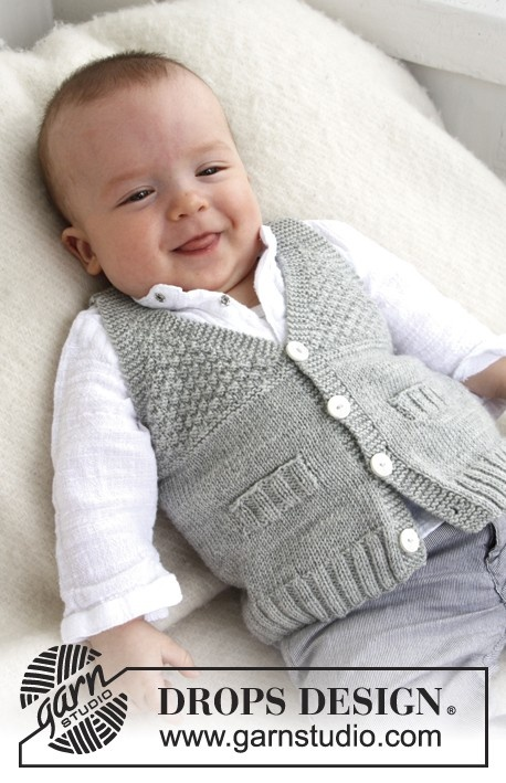 """Free pattern: Knitted DROPS vest with V-neck and textured pattern in """"Baby Merino"""".."""