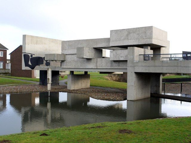 """Victor Pasmore's 'Apollo Pavilion', Victor Pasmore described it as """"... an architecture and sculpture of purely abstract form through which to walk, in which to linger and on which to play, a free and anonymous monument which, because of its independence, can lift the activity and psychology of an urban housing community on to a universal plane."""""""