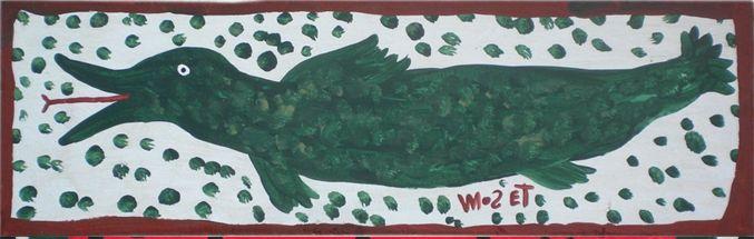 Der Afroamerikaner Mose Tolliver, 1924 (?)-2006, aus Alabama, begann nach einem schweren Unfall, der seine Beine zertrümmerte und ihn für den Rest seines Lebens arbeitsunfähig machte, als Autodidakt an zu malen. Er blieb zeitlebens behindert. seine Selbstbildnisse zeigen ihn mit Krücken. Grosser Grüner Fisch von Mose Tolliver auf www.aussenseiterkunst.ch