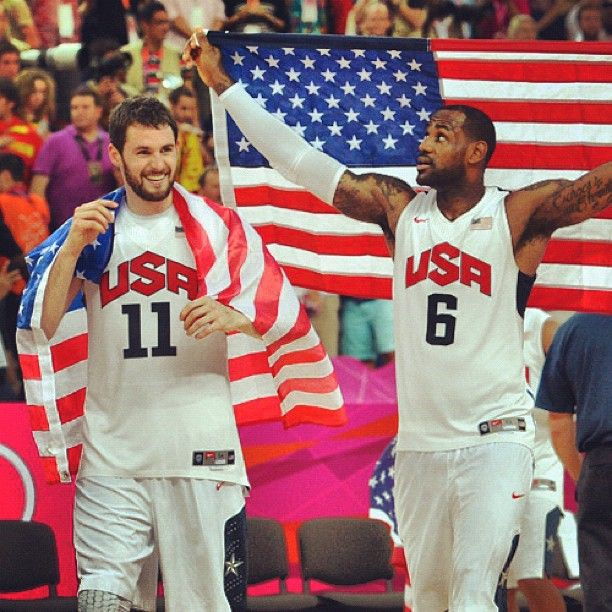 Kevin Love and Lebron James. Photo by mntimberwolves. #TeamUSA #Olympics