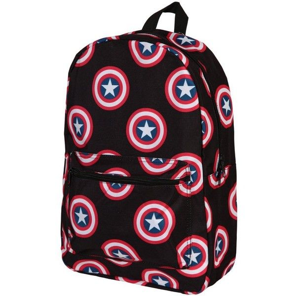 Marvel's Captain America Logo All Over Print Backpack ❤ liked on Polyvore featuring bags, backpacks, logo bags, logo backpack, backpack bags, knapsack bag and rucksack bags
