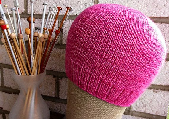 Beautiful lightweight pink cap for spring and summer. Knitted from yarn from a young merino sheep when the fleece is the softest. Perfect for someone experiencing hair loss. https://www.etsy.com/listing/227856567/new-baby-merino-chemo-cap-lightweight