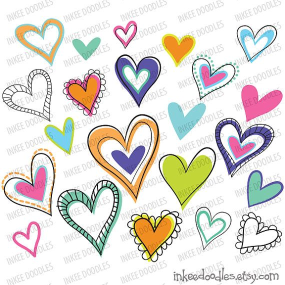 Love Hearts Doodles Clipart Digital Frames Border ...