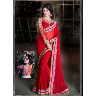 Red Color Bamberg 60 Gm #GeorgetteFabricSaree For more detail http://www.mybest.in