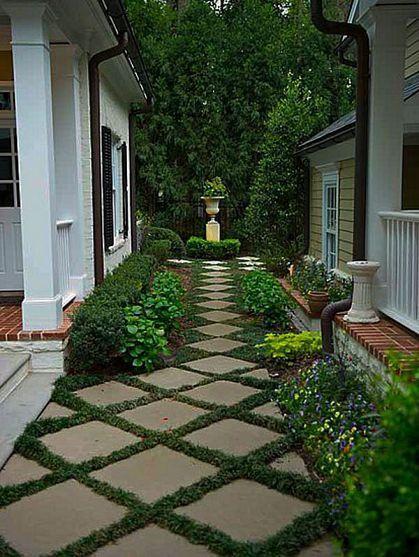 Cheap concrete squares set on the diagonal changes a budget idea to elegance.