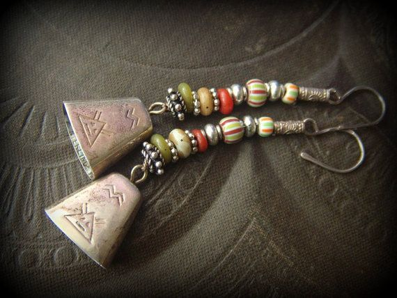 South West, Bells, Sterling Silver, Indonesian Glass, African Glass, Hill Tribe Silver, Long Beaded Earrings