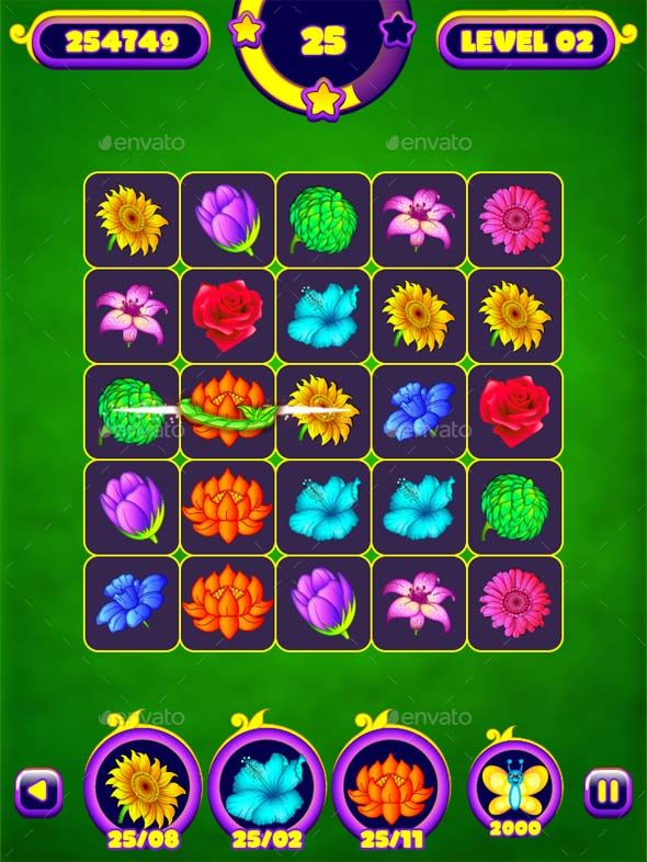 "mobile ui design Flower Splash: Match-3 Puzzle Game UI Pack This is a complete set of Vector Graphical User Interface (GUI) for creating 2D ""MATCH-3 PUZZLE GAMES"". Its 100% vector, thus its easy to customise and fully resizeable. Specially made for mobile apps/games but you can use it anywhere as its a vector."