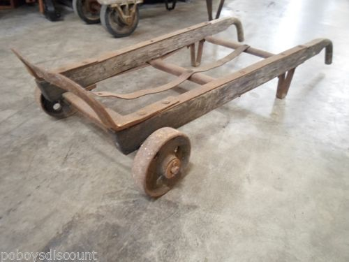 Vintage antique transport 2 wheel dolly steel hand truck for Furniture hand truck