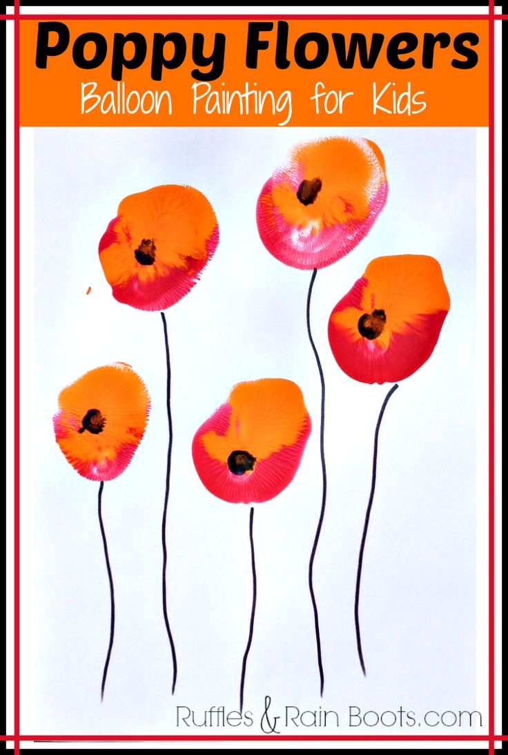 From Ruffles and Rain Boots: poppy flower painting for kids using balloons! Supplies are few: paint, balloon and paper. #toddlercraft #veteransday #toddlerart