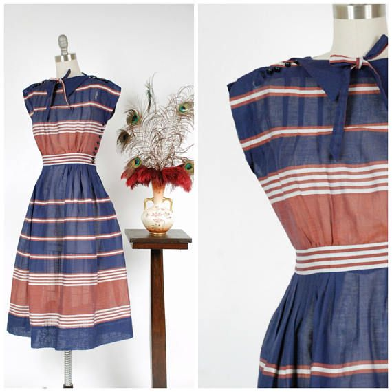 Vintage 1950s Dress  Smart Navy Rust and Dove Grey Striped
