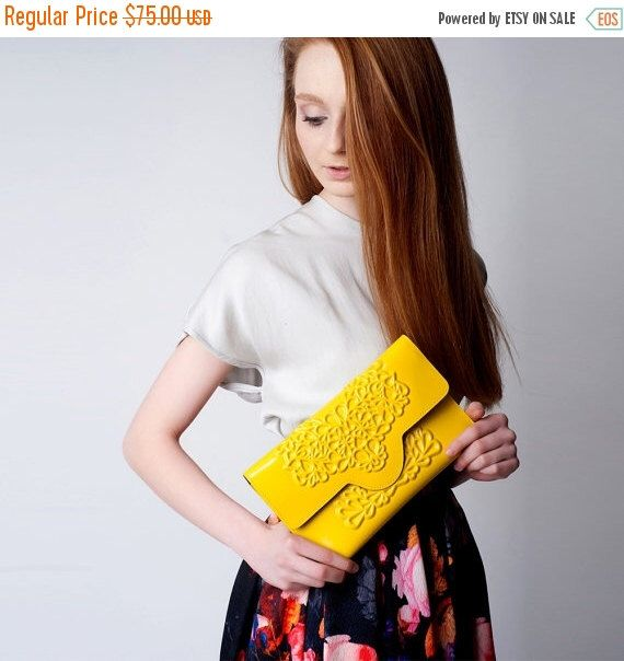 Envelope clutch bag / yellow clutch purse / standout yellow bag / non leather vinyl / floral embossed print / medusa is vegan / love animals by MeDusaBrand on Etsy https://www.etsy.com/listing/177896618/envelope-clutch-bag-yellow-clutch-purse