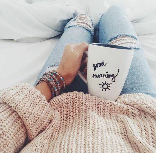 happy | coffee | morning | cozy | mug | bed | comfy