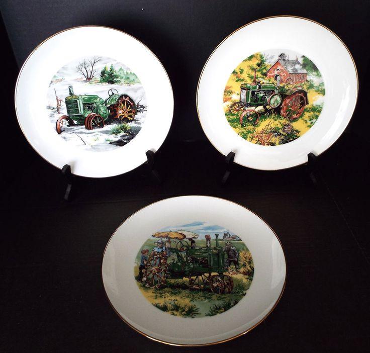 3 John Deere Credit Union Collector Plates Ltd Ed 1983-1984 Waterloo Iowa Lot B