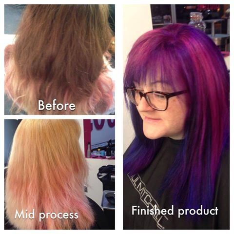 Purple galaxy / unicorn hair. We specialize in unconventional colors. Ginny will spice up your style with vivid hues!