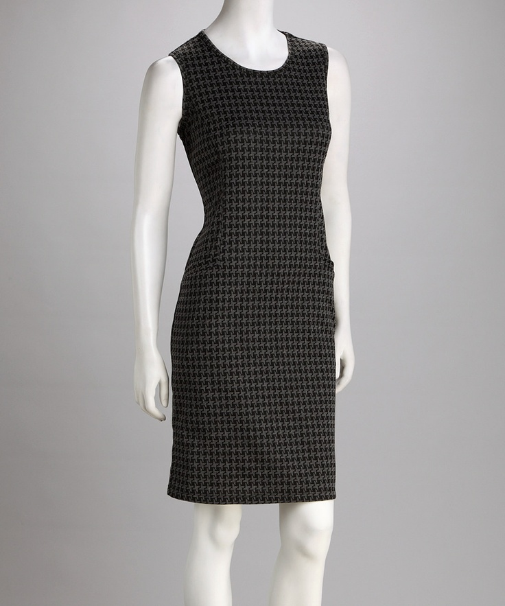great work dresses on #zulily: Work Clothing, Houndstooth, Aprons, Shift Dresses, Chunky Belts, Black Pumps, Work Style, Work Dresses, Grey Cardigans