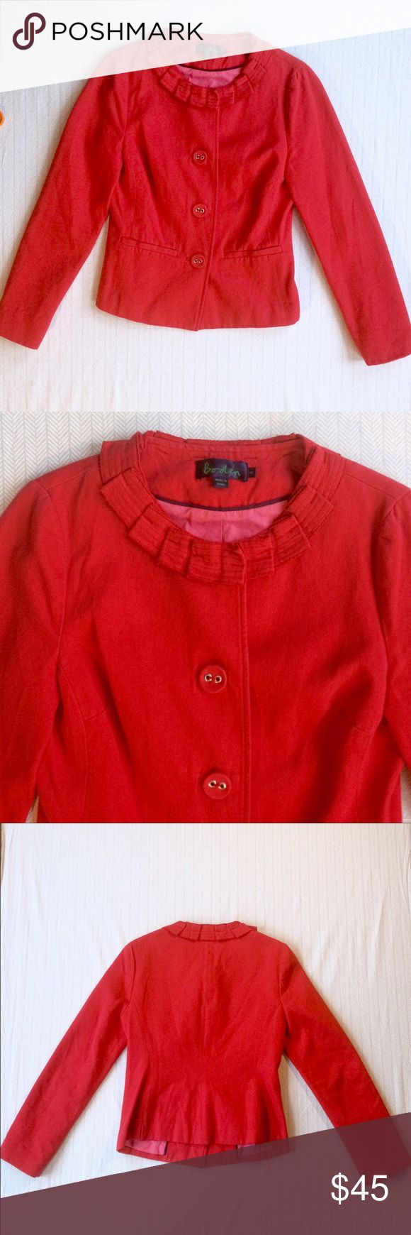 "Boden Jacket Cute jacket from Boden with a ruffled/pleated collar detail. In good used condition with a couple of small snags. Vibrant red is perfect for any season. 16.5"" pit to pit. 22"" from shoulder to hem. Make me an offer. Discount on bundles of two or more. Boden Jackets & Coats"