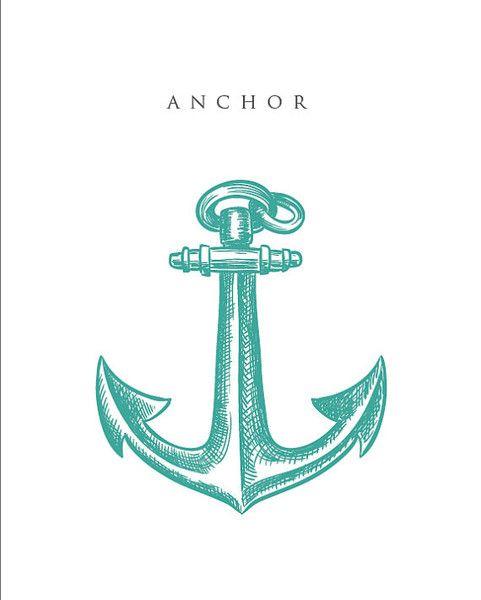Nautical Teal Anchor - Bathroom Artwork #nautical #anchor #blue #ocean #handrawn #art #print