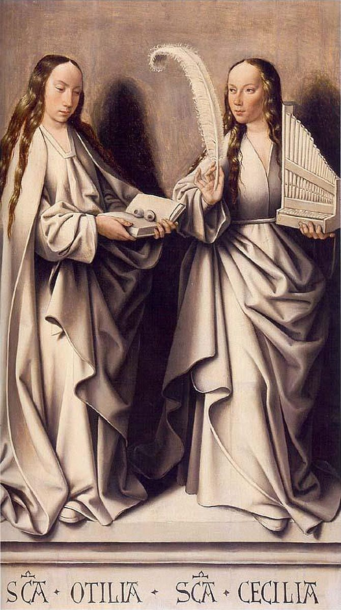 Master of Frankfurt, Two Saints, St. Odilia and St. Cecilia, ca. 1503–1506, oil on panel, 44 1-2 x 26 3-4 in. (Historisches Museum, Frankfurt)