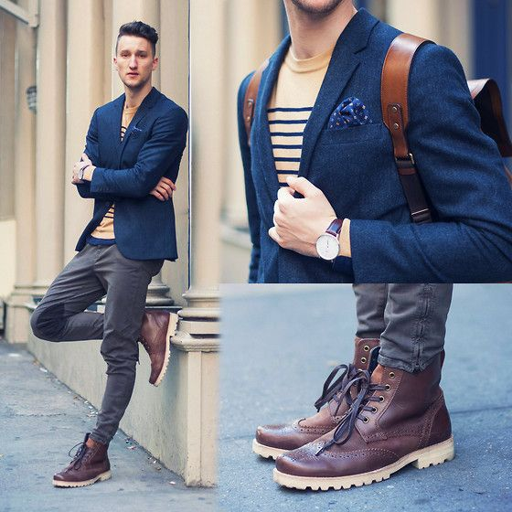 Men Fashion Boots Polka Dots Men Boots