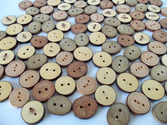Wood Buttons  Branch Buttons  100 Buttons  5 by PebblesAndWoods