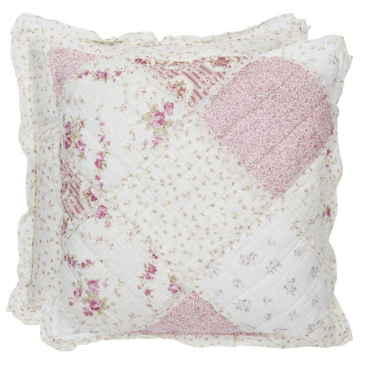 Kussenhoes met met roze roosjes 40 x 40 cm - 8717459086098 - Avantius