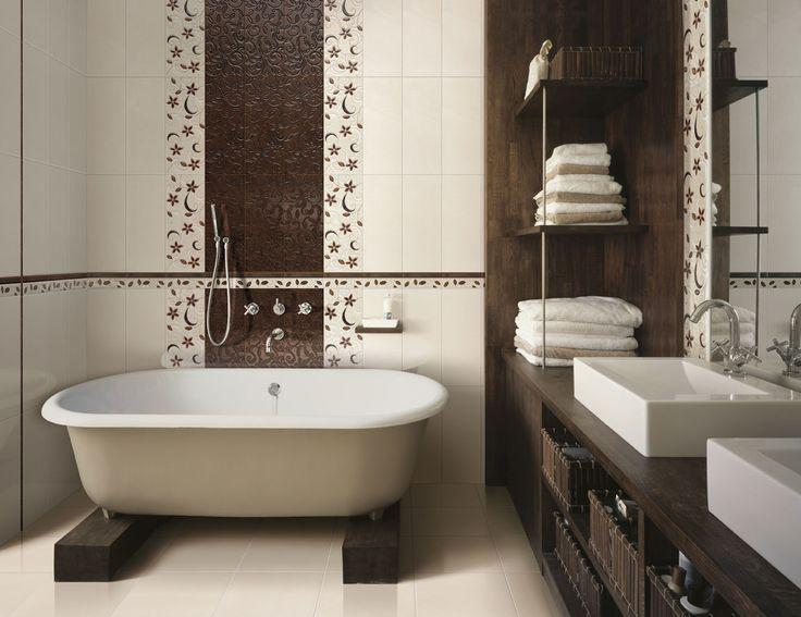 Top Innovative Bathroom Design Ideas 2013 : Splendid Ceramic Wall Decal Innovative Bathroom Design with Simple White Bathtub and Dark Wood V...
