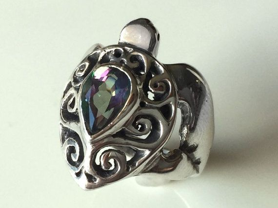 Mystic Topaz Turtle Ring  Sterling Silver by FantaSeaJewelry