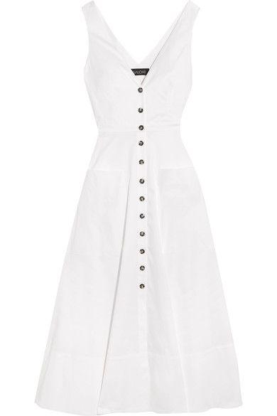 White cotton-blend Button fastenings through front 96% cotton, 4% elastane Dry clean