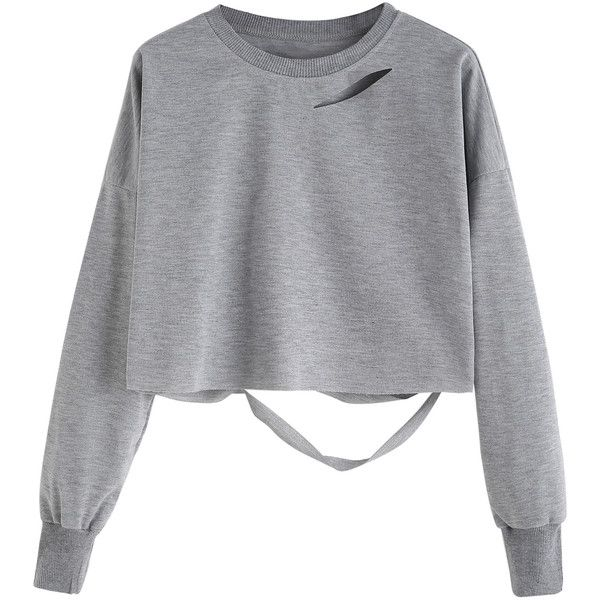 Light Grey Drop Shoulder Cut Out Crop T-shirt ($7.99) ❤ liked on Polyvore featuring tops, t-shirts, grey, crop t shirt, long sleeve tees, long sleeve t shirts, stretch t shirt and grey crop top
