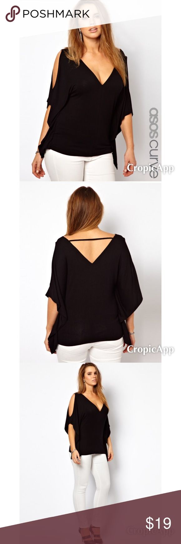 ASOS Curve Exclusive T-Shirt with Batwing Sleeves ASOS Curve Exclusive T-Shirt with Batwing Sleeves - Black US 14. Great Condition :) ASOS Tops Tees - Short Sleeve
