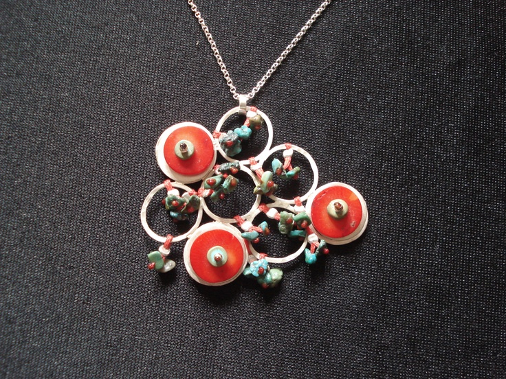 Sterling silver,turquoise,coral. Handmade