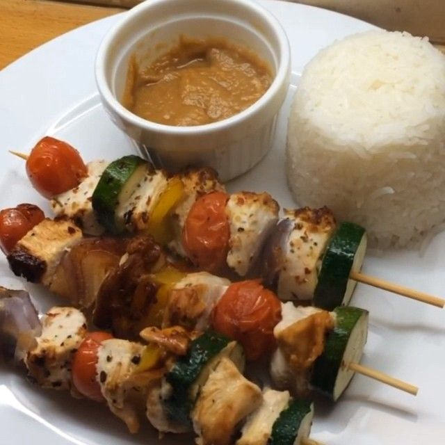 The Body Coach:Peri Peri Chicken Kebabs with peanut butter and honey soy dip!