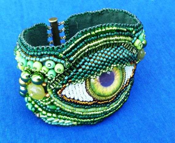 green 'eye' hand beaded embroidered cuff by suegoodebeads on Etsy, $99.00