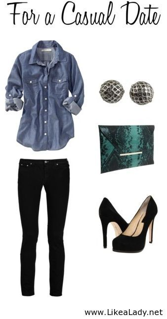 Love this look - wearing a denim shirt would be something new for me to try. Love the pants and the earrings