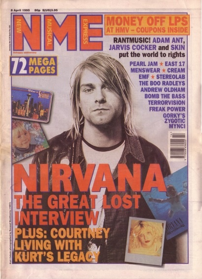 Kurt Cobain on the cover of NME, 8th April 1995