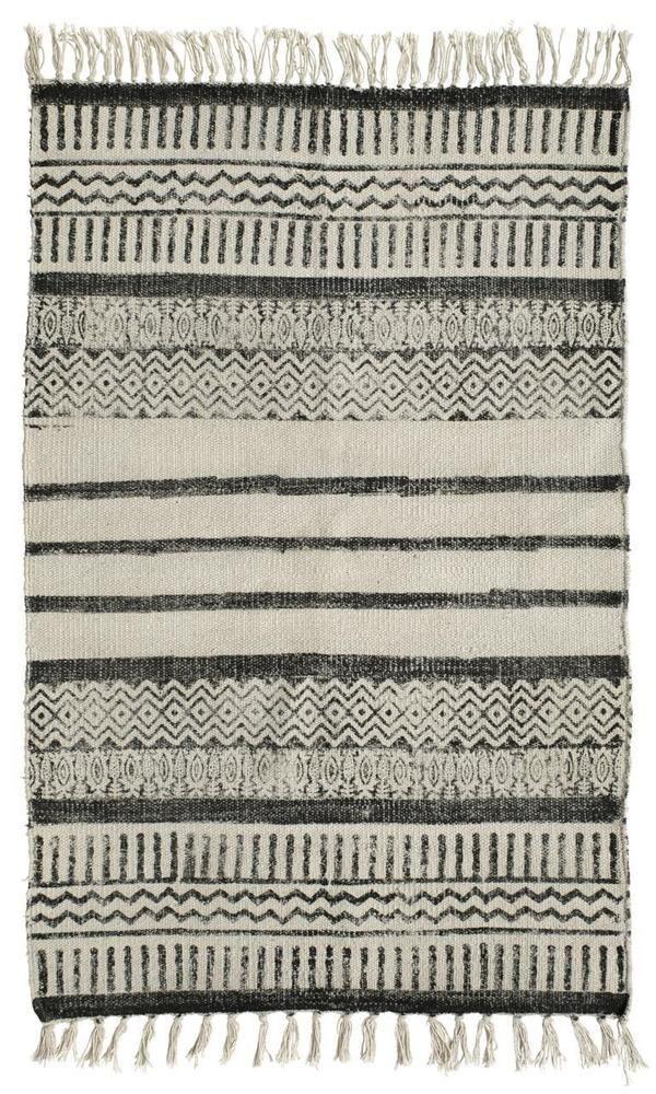 28 50 Teppich Vorleger 60 X 90 Ethno Schwarz Weiss Vintage