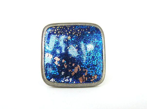 Bague carrée réglable gris vieilli argile polymère bleu nuit avec feuille d'argent, or, cuivre, et paillettes : Bague par commeilvousplaira