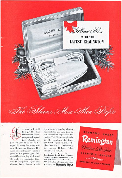 vintage ad for a Remington Electric Shaver, from 1949.